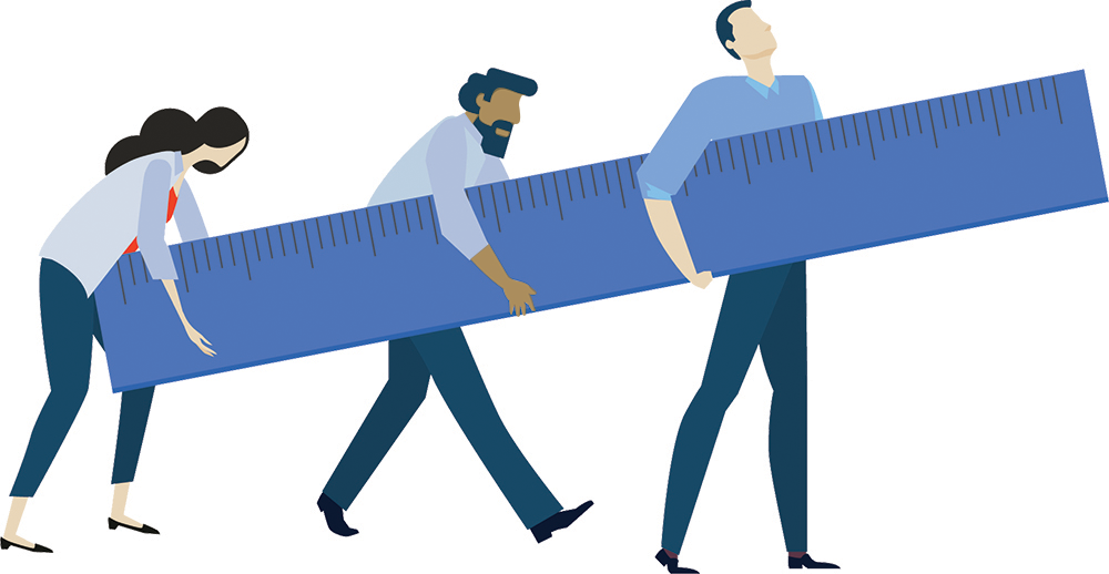 3 people carrying ruler